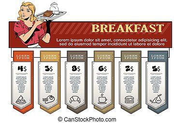 Waitress with breakfast. Infographic for your brand. - Stock...