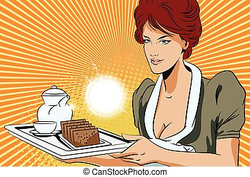 People in retro style. Girl waitress with breakfast. - Stock...