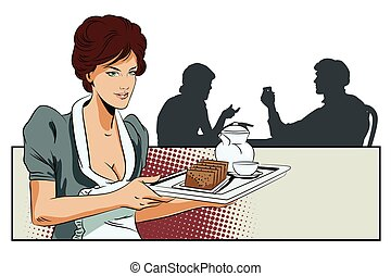 Girl waitress with breakfast. Silhouettes other people. -...