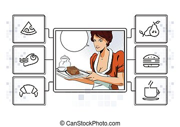 Girl waitress with breakfast. Infographic your brand. -...