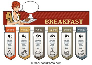 Hand paints picture. Girl waitress with breakfast. - Stock...