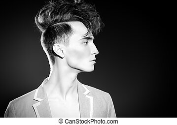 stylish upright hair - Black-and-white portrait of a fashion...