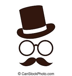 hat with glasses and mustache - classic tophat with glasses...