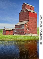 Old grain distribution plant, Alberta, Canada