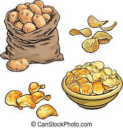 fried potato chips and fresh, vector sketch hand-drawn...