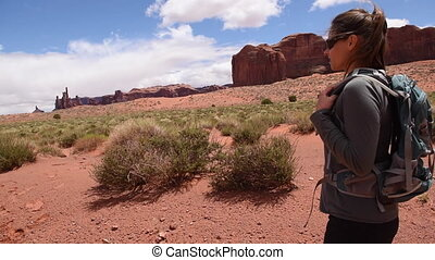 Hiking Monument Valley - Hiker near Sand Spring Aquiferst...