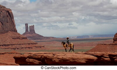 Monument Valley Young Woman Horseback Riding at John's Ford...