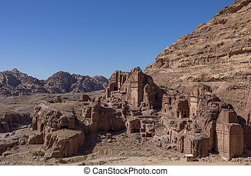 View of Royal Tomb , Petra, Jordan.