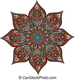 floral ethnic mandala - Drawing of a floral mandala in...