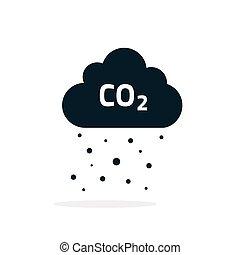 CO2, wysyłania, chmura, Wektor, Ikona, czarnoskóry,...