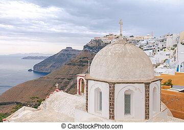 Fira Traditional Greek church - View of the Greek Christian...