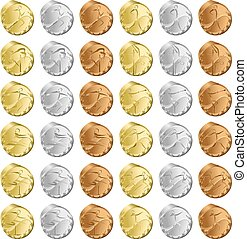 Medals Track - Gold, Silver and Bronze Medals for each event...