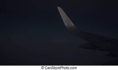 Night flight of a big passenger aircraft clip