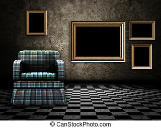 Room with armchair and wood frame