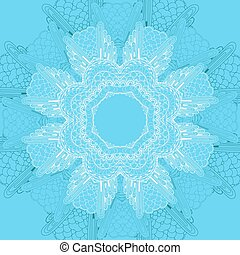 lace doily - Card with blue circular ornament. Lace doily....