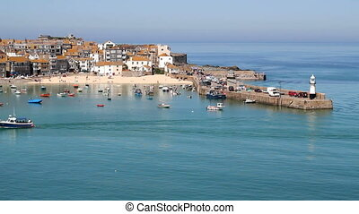 St. Ives harbour beach calm sea. - St. Ives harbour beach...
