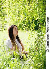 loto, posición, mujer, meditar