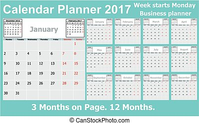 Calendar Planner for 2017 Year. 3 Months on Page. Week...