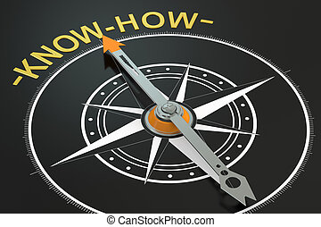 Know-How compass concept, 3D rendering