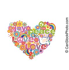 Hippie heart print with dove, peace symbol and rainbow