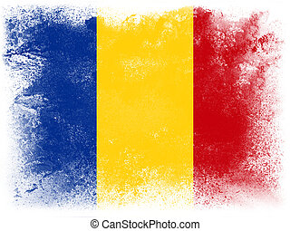 Romania - Powder paint exploding in colors of Romania flag...
