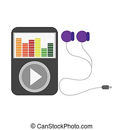 music player with earphones