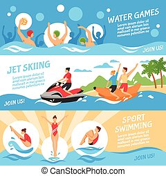 Water Sport Banners Set - Water Sport Flat Concept. Water...