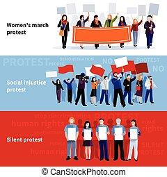 抗議, 顯示, 旗幟, 人們