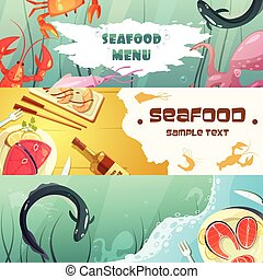 Seafood Menu Banners - Color horizontal banners seafood menu...