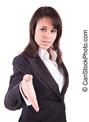 Business woman offering handshake - isolated over white