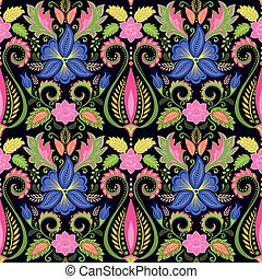 Vintage floral wallpaper with pansy
