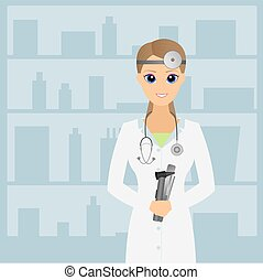 Doctor otolaryngologist. Beautiful doctor Vector...