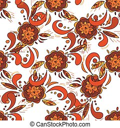 seamless pattern in traditional russian khokhloma style