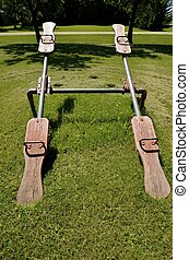 Pair of wood teeter totters - A pair of identical old wood...