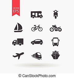 Transportation icons set. Signs Isolated on white...