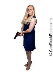 Woman with Gun - Beautiful woman with a loaded handgun...