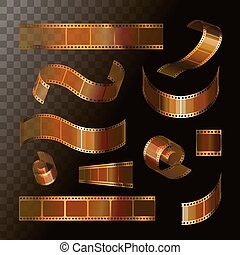 Camera film roll gold color, 35 mm, festival movie icons,...