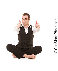 businessman sitting in lotus pose - picture of businessman...