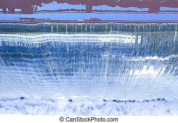 reservoir dam falls top view