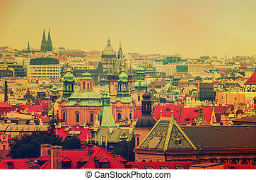 Center of Prague city at autumn with red roofs, european...