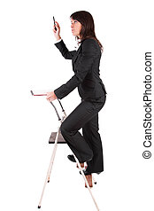 Business woman climbing ladder, isolated over white
