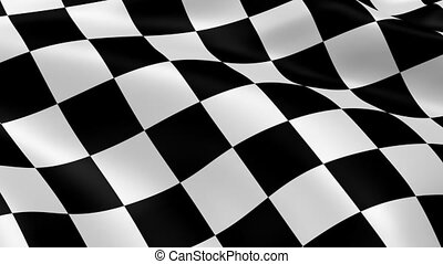 Checkered flag in the wind Part of a series
