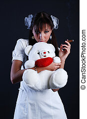 Beauty woman with bear and cigar - Beauty portrait of woman...