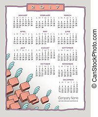 2017 Whimsical, artsy border calendar, ideal for any...