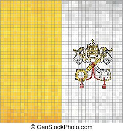 Mosaic flag of Vatican City - Illustration, Flag of the Holy...