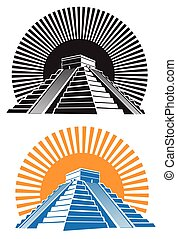 ancient pyramids - Stylized vector illustration of ancient...