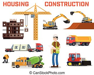 Construction machines builders and house building process.