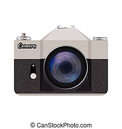 Vector retro style camera - Vector illustration of detailed...