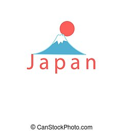 word Japan and Mount Fuji - Beautiful vector icon with the...