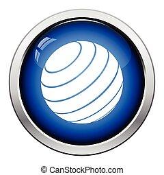 Fitness rubber ball icon. Glossy button design. Vector...